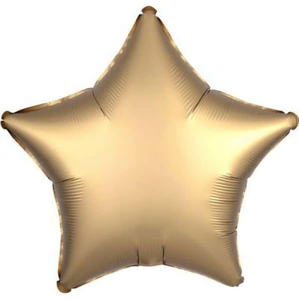 Звёзды шары фольгированные САТИН GOLD SATEEN