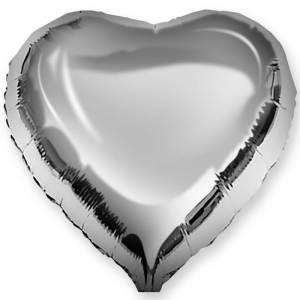 Фольгированный шар Сердце серебро большое