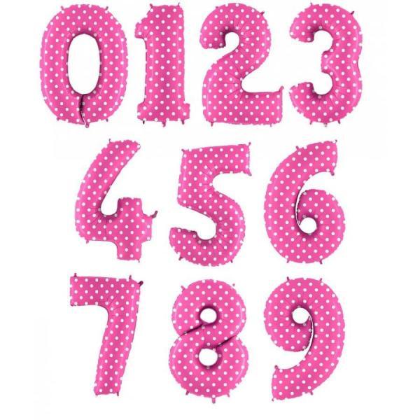 Цифра шар Розовая в горошек
