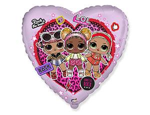 Фольгированный шар Кукла Лол в сердце