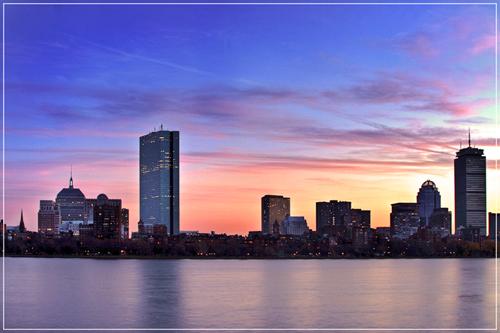 Twilight view of Boston