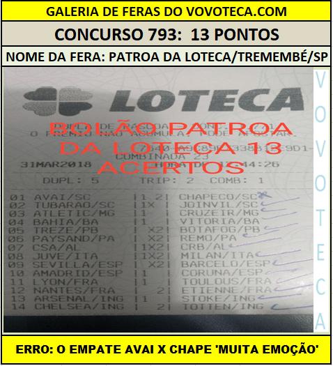 793 13P PATROA DA LOTECA