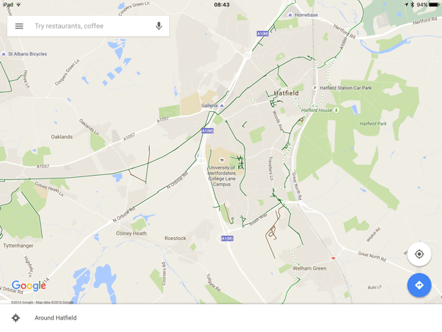 Google Maps showing cycle paths