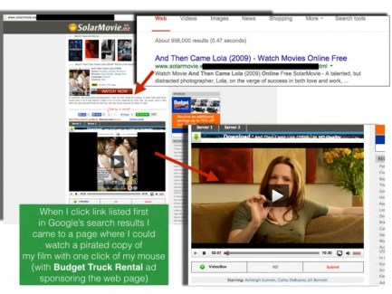 Google search leads to pirate website