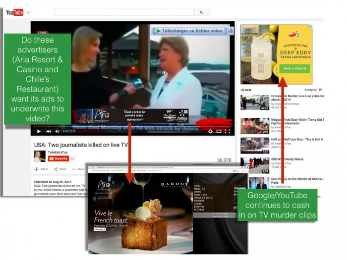 Ads for Chile's Restaurant and Aria Resort appear on clip of WDBJ murder.