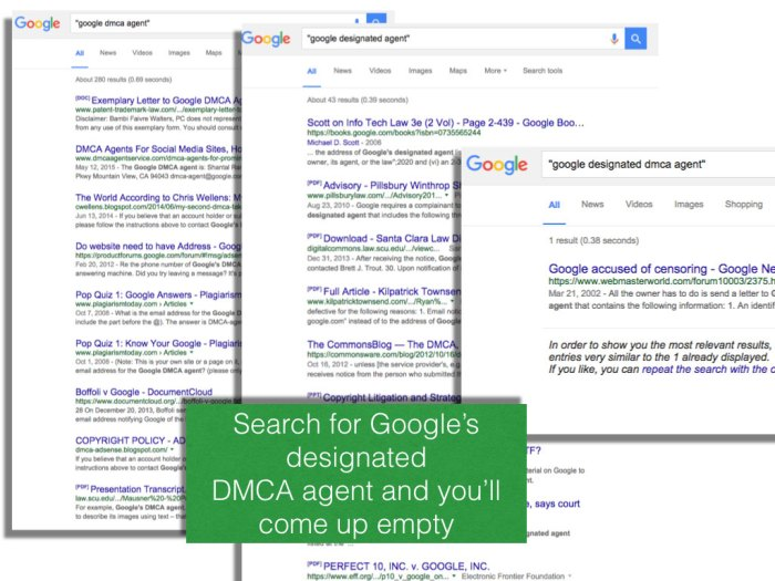 Google doesn't make finding its DMCA agent info easy