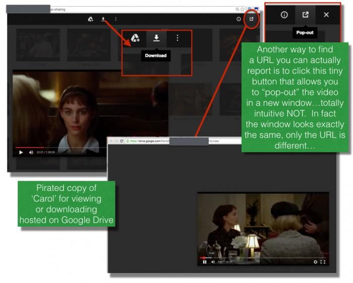 Google drive copy of pirated movie 'Carol'