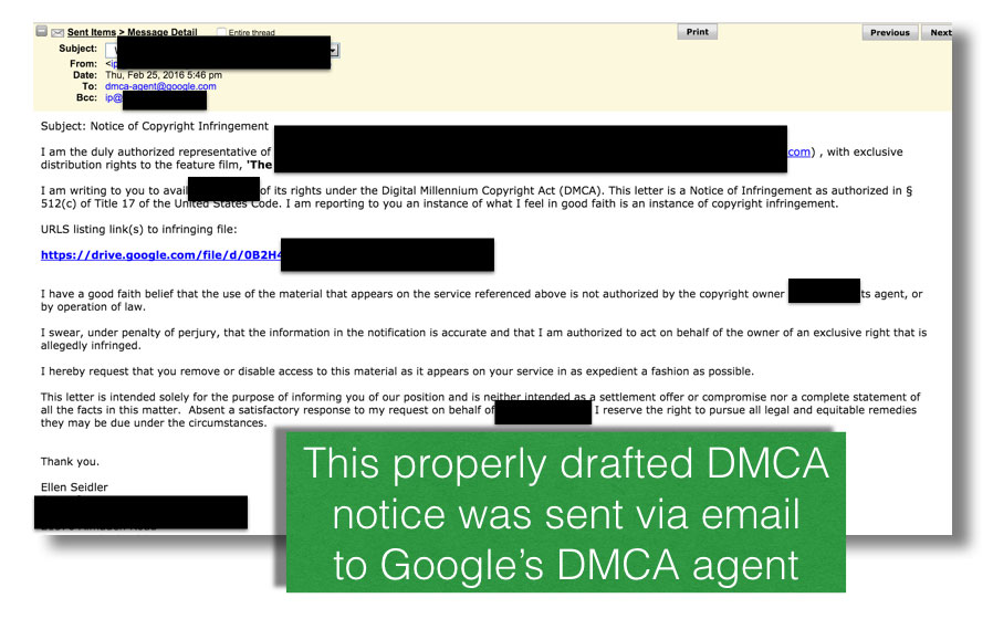 Legal DMCA notice sent to Google