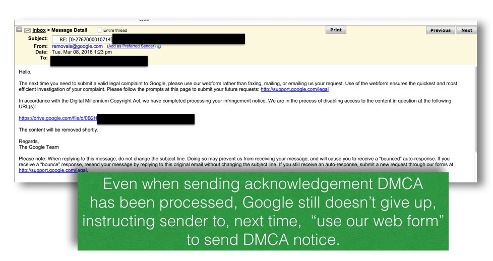 Google says use their online web form to send your DMCA notice next time