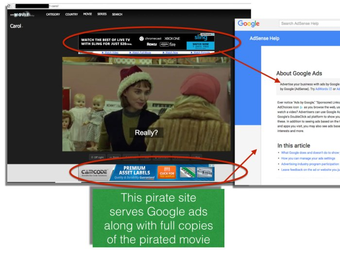 Pirated copy of Carol with Google AdSense ads
