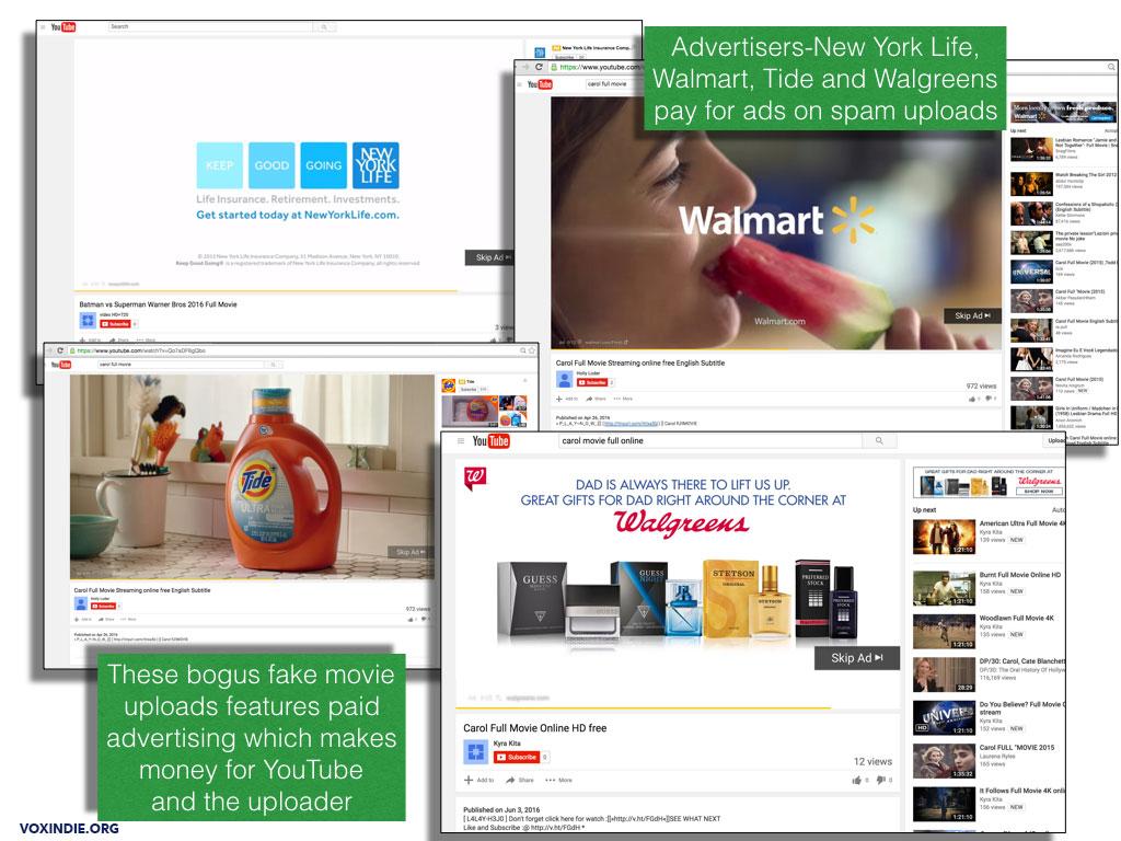 YouTube ads on bogus uploads