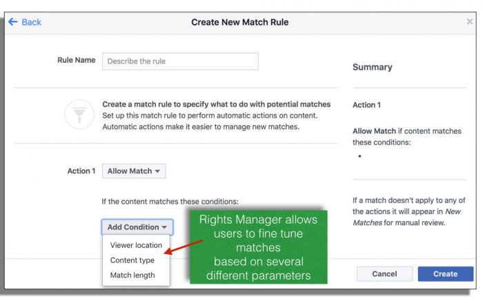 Facebook match rules