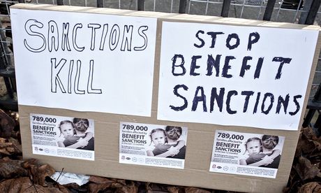 A poster against benefits sanctions in Salford.