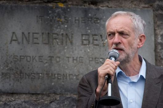 Jeremy Corbyn speaking at the Aneurin Bevan Stones in Tredegar [Image: Matthew Horwood].