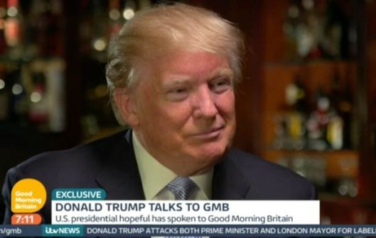 Donald Trump made his remarks in an interview with Piers Morgan on ITV's Good Morning Britain.