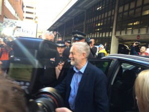 Labour leader Jeremy Corbyn arrives at TUC 2015 [Image: union-news.co.uk].