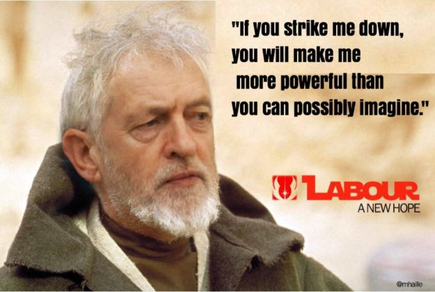 Not Jeremy Corbyn: But, like Obi-Wan Kenobi in Star Wars (here played by the late, great Sir Alex Guinness), after his enemies tried to strike him down, Jeremy Corbyn's support in the Labour Party seems stronger than ever. Some media commentators seem rather upset about that.