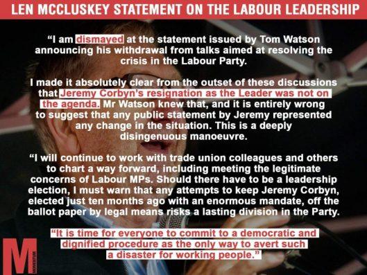 160709 McCluskey statement