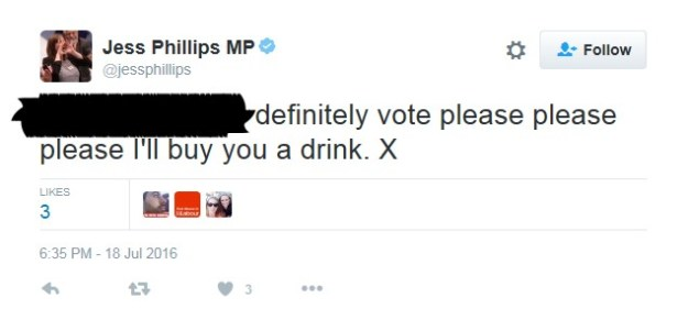 Jess Phillips's offending tweet. I've removed the name of the recipient of the offer.