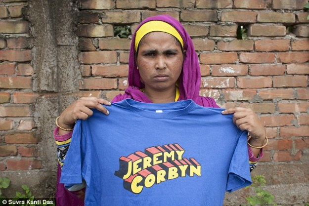 Apparently this image is misleading as the T-shirts were printed in the UK by a reputable company. Perhaps this merely shows the lengths to which the Mail went, in order to attack Jeremy Corbyn. What a shame the claims against him proved to be a fabrication![Image: Suvra Kanti Das].
