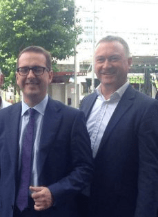 Owen Smith on his unannounced visit to central Croydon with Steve Reed OBE [Image: Inside Croydon].