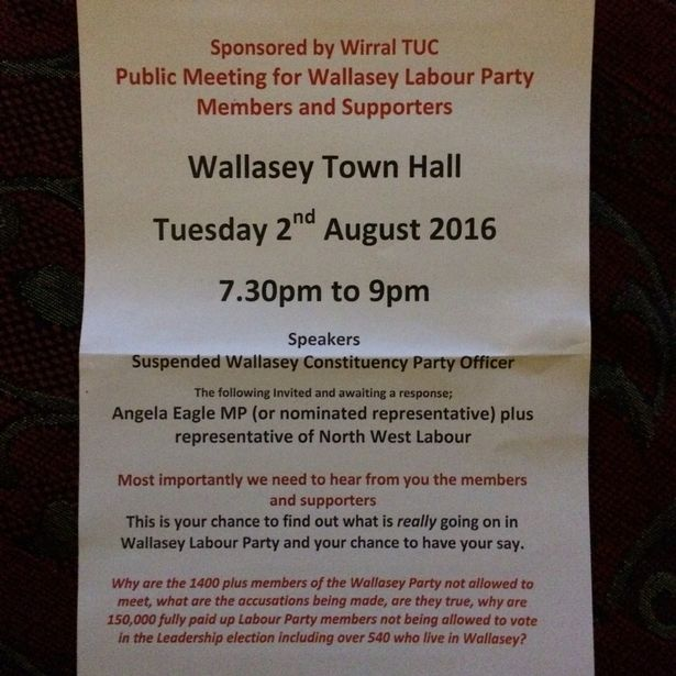 The leaflet calling the public meeting in Wallasey.