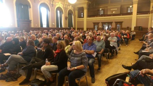 Full support: Almost every seat was taken in Wallasey civic hall at the meeting about the local Labour party's suspension [Image: Liam Murphy on Twitter].