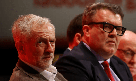 "When Tom Watson (right) talks about ""fake news"", does he just mean anything complimentary about Jeremy Corbyn (left)? [Image: Gareth Fuller/PA]."
