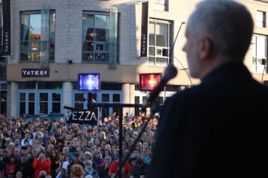 Jeremy Corbyn addressing thousands in Sheffield in August. But the local Labour Party fielded an anti-Corbyn candidate in the Mosborough by-election - and lost.