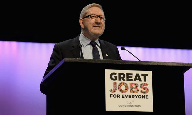Len McCluskey, general secretary or the Unite union, speaks to the TUC's conference in Brighton last year [Image: Mary Turner/Getty Images].