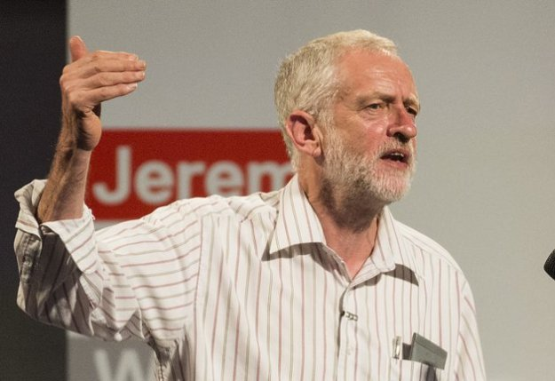 Jeremy Corbyn speaking at a Momentum event in August [Image: Anadolu Agency via Getty Images].