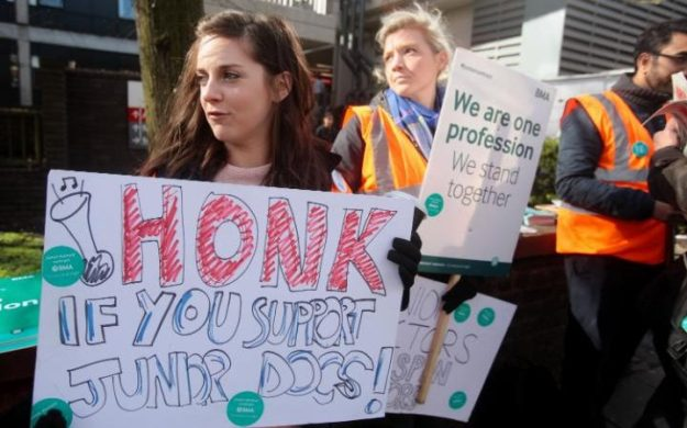 Junior doctors are due to embark on three weeks of five day strikes, starting on October 5 [Image: Daily Telegraph].