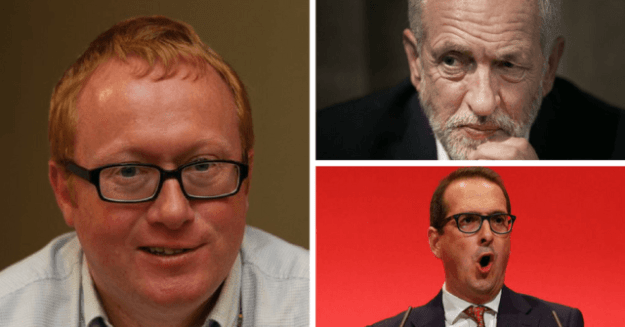 Luke Akehurst (left) is secretary of 'Moderate' group Labour First, which has been using Owen Smith (bottom) to attack Jeremy Corbyn (top). He has revealed other challenges will be mounted until one succeeds, no matter what the cost to the party [Image: EvolvePolitics].
