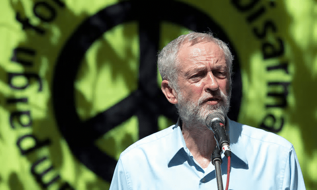 Jeremy Corbyn speaks at a Campaign for Nuclear Disarmament (CND) event in central London, August 2015 [Image: Will Oliver/EPA].