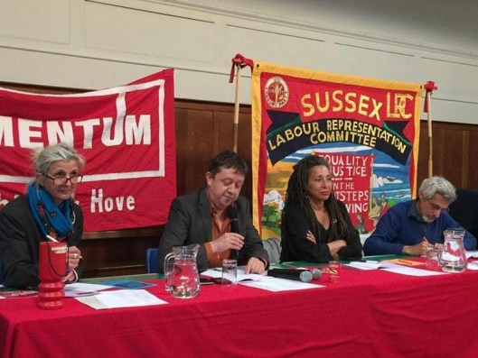 Jackie Walker (center right) at a meeting of Momentum in Brighton and Hove, in June [Image: The Electronic Intifada].