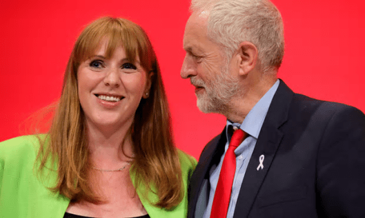 Shadow Education Secretary Angela Rayner is congratulated by Labour leader Jeremy Corbyn after her speech at the party conference [Image: Christopher Furlong/Getty Images].
