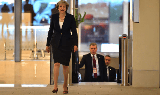 Theresa May: 'This marks the first stage in the UK becoming a sovereign and independent country again.' It was never anything else; the claim relies on a misinterpretation of EU membership. [Image: Carl Court/Getty Images].