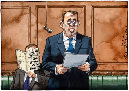 I know this cartoon is not strictly accurate - Liam Fox was giving a conference speech, not speaking in the Commons - but his career really has taken on the quality described on the cover of the book featured here.