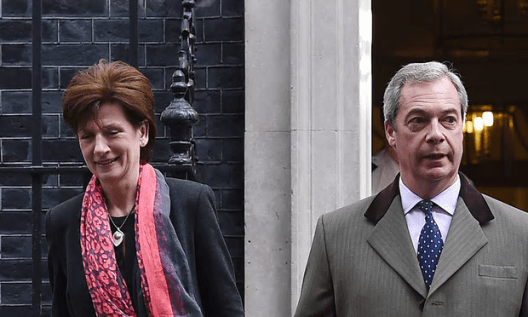 Nigel Farage said he was technically Ukip leader after James stepped down, saying she did not enjoy the support of MEPs or party officials [Image: Andy Rain/EPA].
