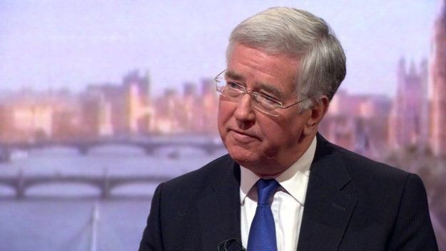 Michael Fallon: For Nato, for aggression against Russia; against thinking for himself [Image: BBC].