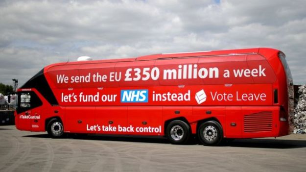 During the EU referendum Vote Leave pledged to repatriate £350m it said was being sent each week to the EU [Image: BBC].
