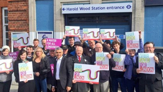 Former Labour Party member Krystyna Koseda out campaigning for Labour with Sadiq Khan (that's her, just to the left of him). She was expelled from Labour in September, on the grounds that she had campaigned for George Galloway.