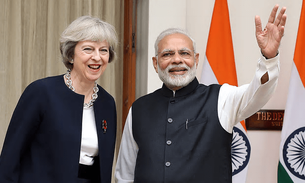 Theresa May with Indian Prime Minister Narendra Modi during a visit to India for bilateral talks and trade events [Image: Harish Tyagi/EPA].