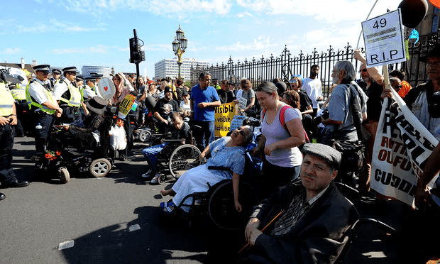This government has to break with the shameful legacy of the previous regime, which demonised disabled people in receipt of benefits.' A disability benefits protest on Westminster bridge in September [Image: Nick Ansell/PA].