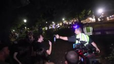 Police threaten counter-protestors with pepper spray