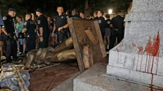 """""""Silent Sam"""" toppled as police stand guard"""