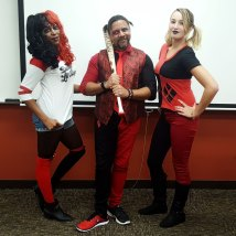 Mav and Brooklin (with Ayana) as Harley Quinns