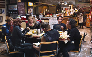 Shwarma scene from the Avengers. Characters with superhero costumes