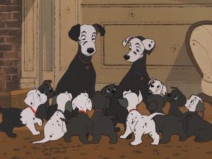 Still from 101 Dalmatians showing the dogs covered in soot