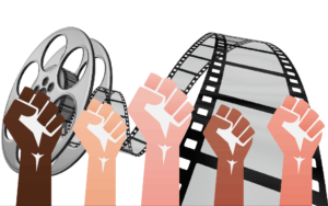 fists over a film reel representing film unions